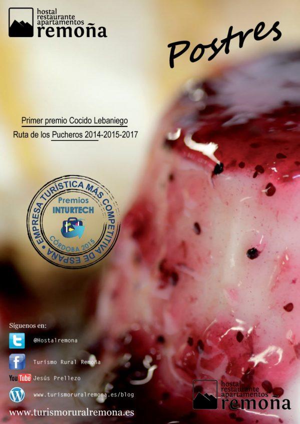 carta de Postres del restaurantes cantabria hostal remoña portada