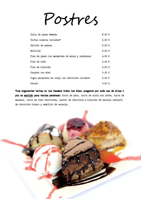 carta de Postres del restaurantes cantabria hostal remoña postres