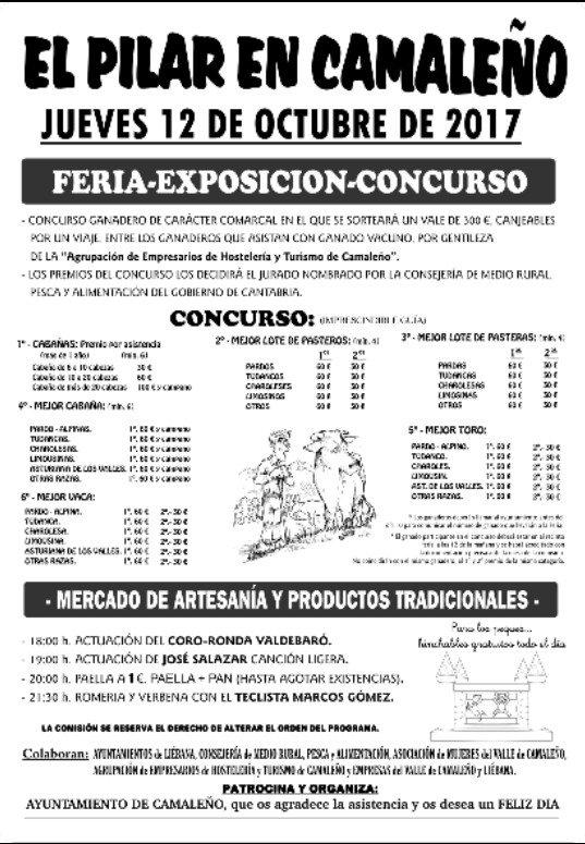 Cartel Feria El Pilar en Camaleño 2017