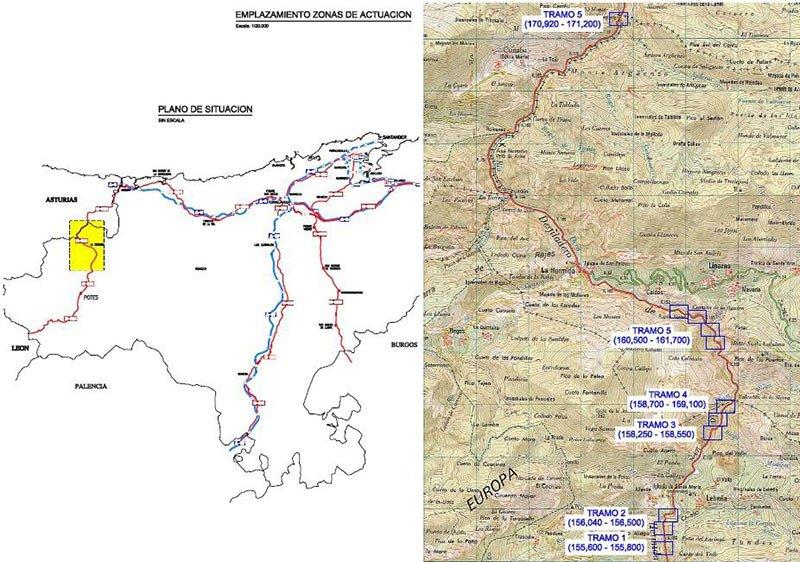 Mapa obras Desfiladero de la Hermida