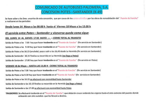 calendario cortes desfiladero de la hermida horario bus palomeras