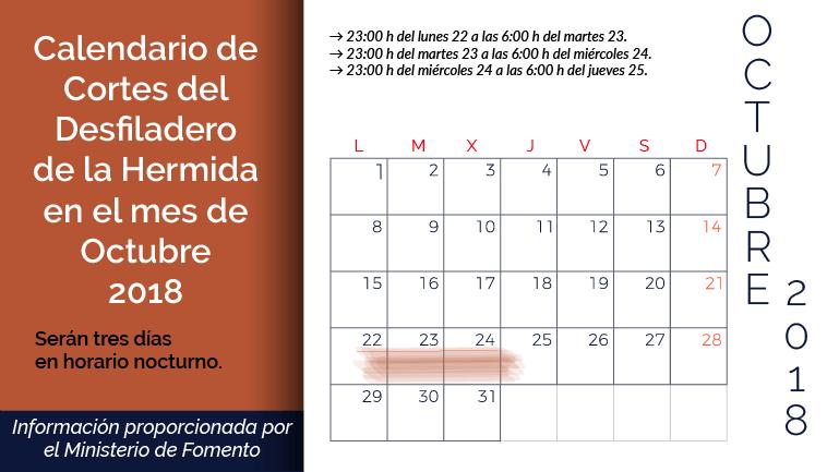 calendario cortes desfiiladero de la hermida octubre