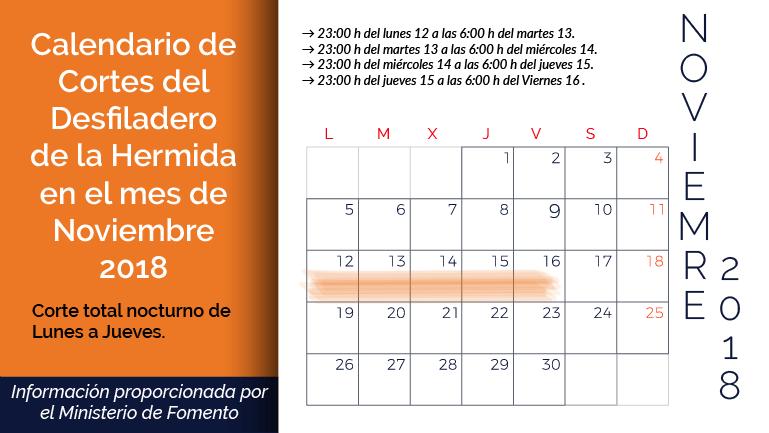 Calendario de cortes del Desfiladero de la Hermida en Noviembre. Liébana Cantabria