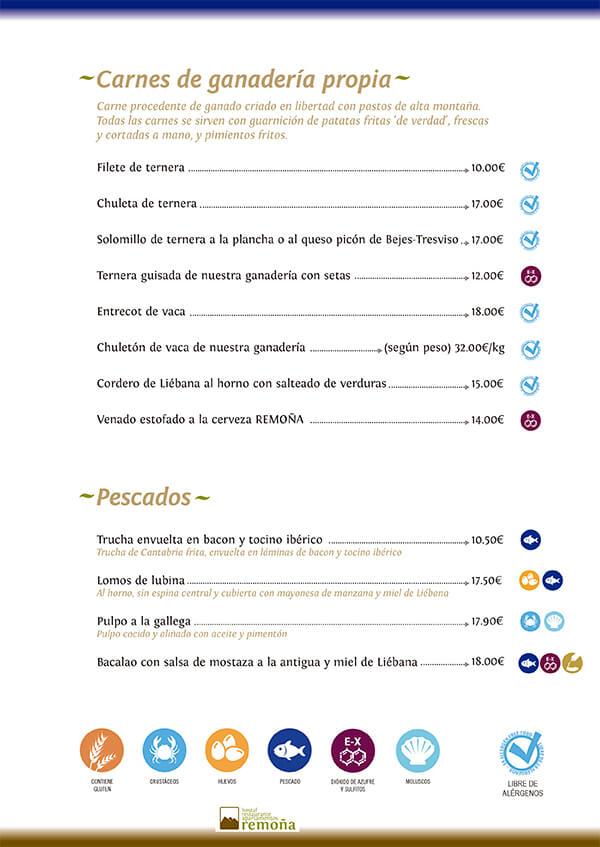 carta restaurante de cantabria hostal remoña carnes y pescados