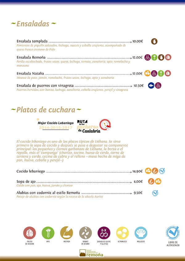 carta restaurante de cantabria hostal remoña ensalada platos de cuchara