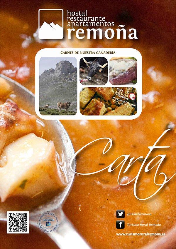 carta restaurante de cantabria hostal remoña portada