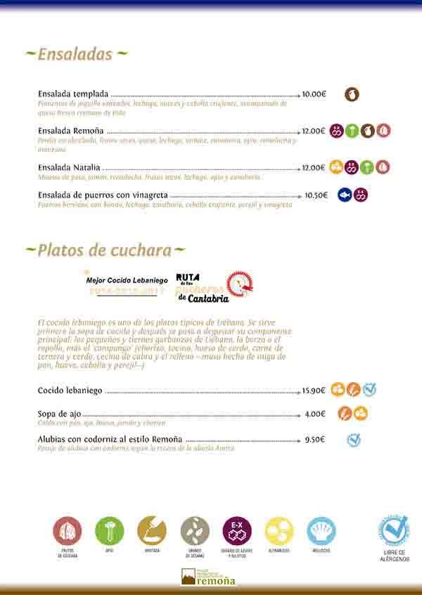 carta restaurante de cantabria hostal Remoña ensalada platos de cuchara 2020