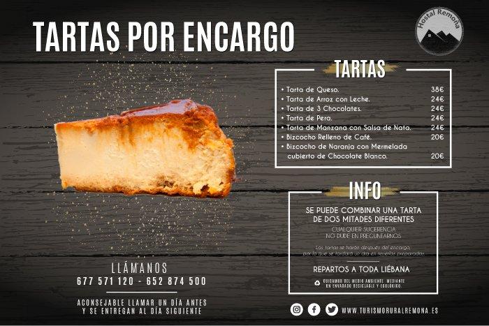 Tartas por Encargo - Servicio a domicilio a Liébana - Hostal Remoña