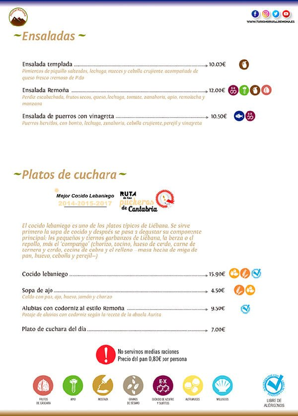 ensaladas - carta hostal remona - restaurantes en cantabria
