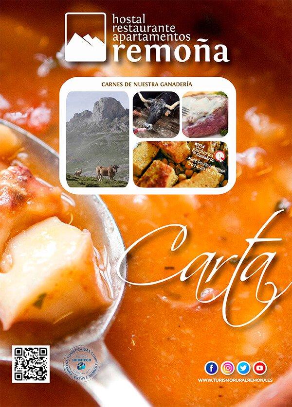 portada - carta hostal remona - restaurantes en cantabria